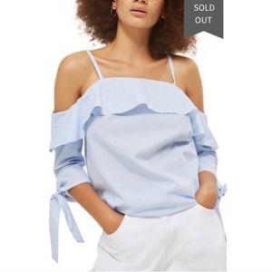Topshop Blue and White Stripe Off Shoulder Top